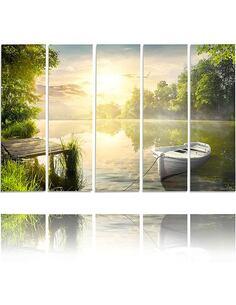 Composition de 5 tableaux LAC EST imprimé sur toile - par Feeby