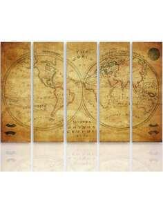 Composition de 5 tableaux CARTE HISTORIQUE DU MONDE imprimé sur toile - par Feeby