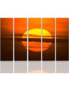 Composition de 5 tableaux LE SOLEIL COUCHANT imprimé sur toile - par Feeby
