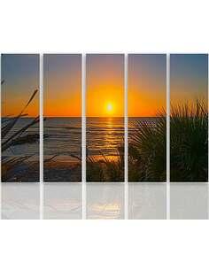 Composition de 5 tableaux LE COUCHER DU SOLEIL SUR LA PLAGE 2 imprimé sur toile - par Feeby