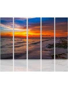 Composition de 5 tableaux LE COUCHER DE SOLEIL SUR LA PLAGE 3 imprimé sur toile - par Feeby