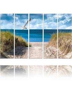 Composition de 5 tableaux DESCENTE VERS LA MER imprimé sur toile - par Feeby