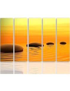 Composition de 5 tableaux 4 PIERRES ZEN imprimé sur toile - par Feeby