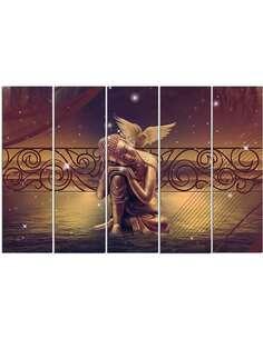 Composition de 5 tableaux OR BOUDDHA imprimé sur toile - par Feeby