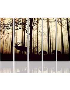 Composition de 5 tableaux LE ANIMAUX DANS LA FORÊT imprimé sur toile - par Feeby