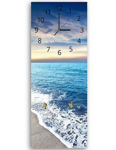 Tableau horloge murale et patère BORD DE LA MER - par Feeby