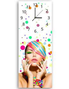 Tableau horloge murale et patère FEMME DANS DES COULEURS - par Feeby
