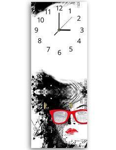 Tableau horloge murale et patère FEMME LUNETTES - par Feeby