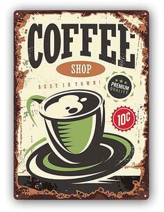 Plaque acier décorativeRETRO COFFEE SHOP - par Feeby