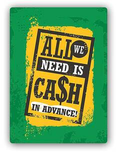 Plaque acier décorativeRETRO ALL WE NEED IS CASH - par Feeby