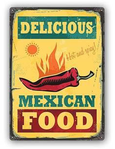 Plaque acier décorativeRETRO MEXICAN FOOD - par Feeby