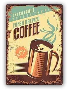 Plaque acier décorativeRETRO COFFEE 2 - par Feeby