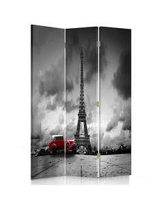 Paravent 3 volets VOITURE ROUGE À PARIS - par Feeby