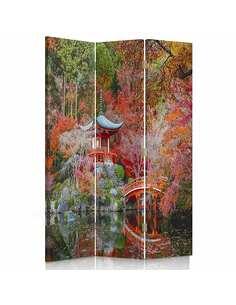 Paravent 3 volets JARDIN DE STYLE JAPONAIS - par Feeby