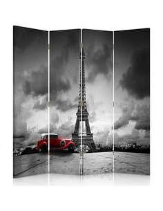 Paravent 4 volets VOITURE ROUGE À PARIS - par Feeby