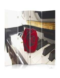 Paravent 4 volets ROSE AU PIANO - par Feeby