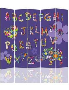 Paravent 5 volets ALPHABET - par Feeby