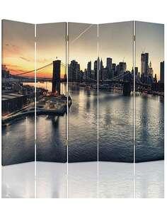 Paravent 5 volets LE PONT DE BROOKLYN À NEW YORK - par Feeby
