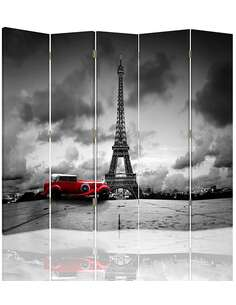 Paravent 5 volets VOITURE ROUGE À PARIS - par Feeby