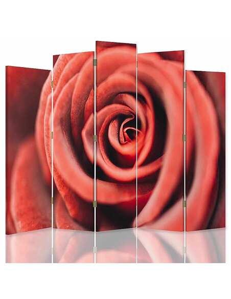 Paravent 5 volets FLEUR ROSE 1 - par Feeby