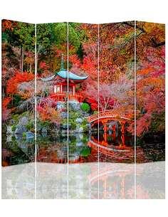 Paravent 5 volets DIVISEUR DE CHAMBRE, JARDIN DANS LE STYLE JAPONAIS - par Feeby