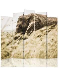 Paravent 5 volets ELEPHANT DANS L'HERBE - par Feeby