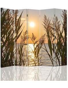 Paravent 5 volets DIVISEUR DE CHAMBRE, COUCHER DE SOLEIL SUR LE LAC - par Feeby