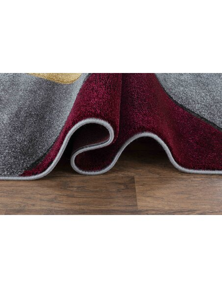 Tapis KOSTO 391 Scandinave Rectangulaire Rouge et Multicolore