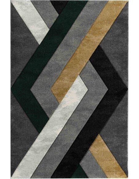 Tapis KOSTO 391 Scandinave Rectangulaire Vert et Multicolore