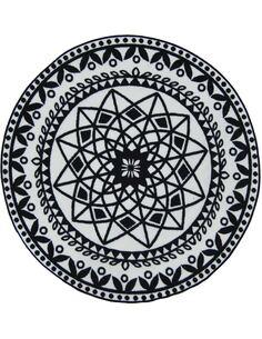 Tapis Utopia 112 carreaux de ciment  Rond Noir