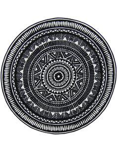 Tapis Utopia 113 carreaux de ciment  Rond Noir