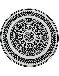 Tapis Utopia 114 carreaux de ciment  Rond Noir