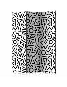 Paravent 3 volets BLACK AND WHITE MAZE  | Artgeist |