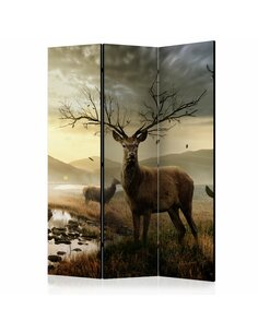 Paravent 3 volets DEERS BY MOUNTAIN STREAM  | Artgeist |