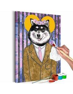 Tableau à peindre DOG IN SUIT  | Artgeist |