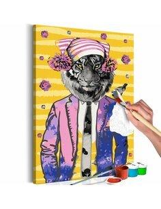 Tableau à peindre TIGER IN HAT  | Artgeist |