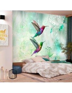 Papier peint COLOURFUL HUMMINGBIRDS VERT