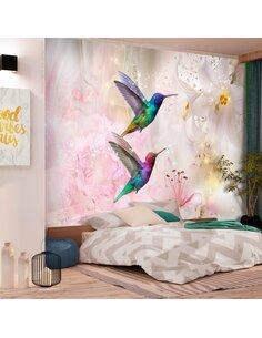 Papier peint COLOURFUL HUMMINGBIRDS ROSE