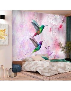 Papier peint COLOURFUL HUMMINGBIRDS VIOLET
