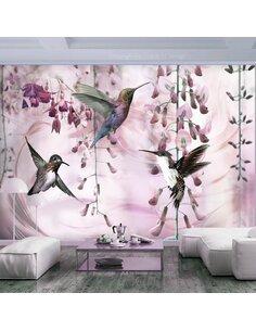 Papier peint FLYING HUMMINGBIRDS ROSE