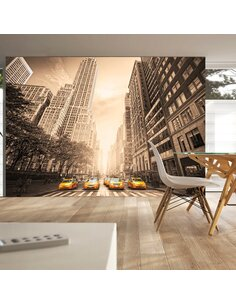 Papier peint NEW YORK TAXI sepia