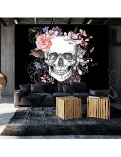 Papier peint SKULL AND FLOWERS