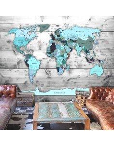 Papier peint WORLD MAP BLUE CONTINENTS