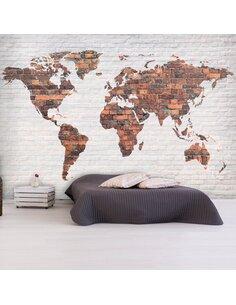 Papier peint WORLD MAP BRICK WALL