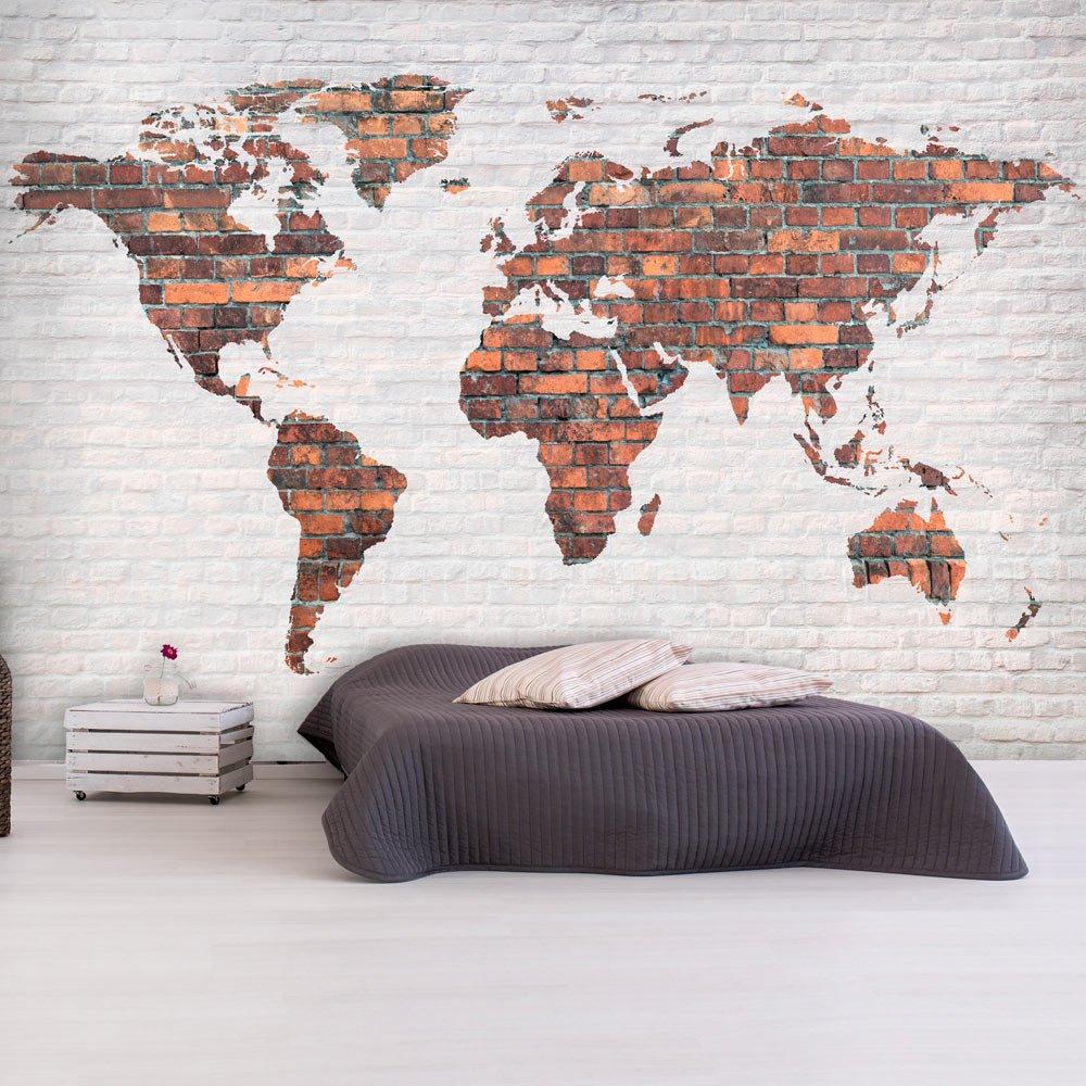 D/éco Mural Tableaux Muraux Photo Bois decomonkey Papier peint intiss/é Carte du Monde Continente 200x140 cm Trompe l oeil