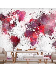 Papier peint WORLD MAP RED WATERCOLORS