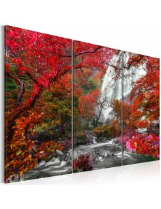 Tableau BEAUTIFUL WATERFALL AUTUMNAL FOREST