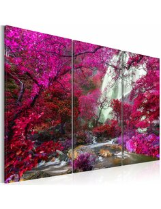 Tableau BEAUTIFUL WATERFALL PINK FOREST