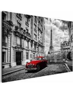 Tableau CAR IN PARIS RED WIDE