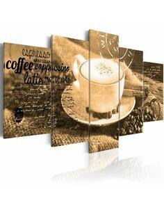 Tableau COFFE, ESPRESSO, CAPPUCCINO, LATTE MACHIATO ... sepia